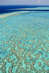 Coral reefs aerial, Great Barrier Reef, Australia