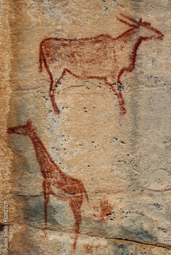 Rock painting of eland and giraffe, Tsodilo Hills, Botswana