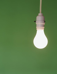 Traditional glass light bulb and switch with a white electric flex. Green background.