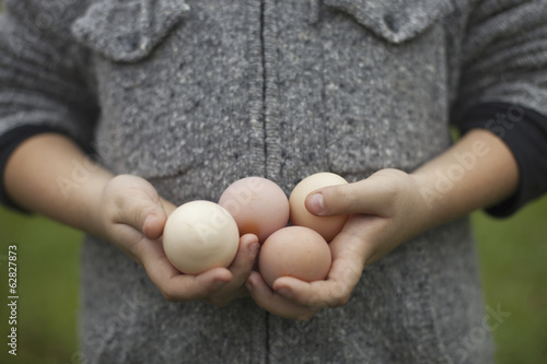 A person holding a clutch of fresh organic hen's eggs.