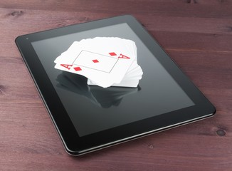 deck of playing cards on digital tablet pc,texas poker online