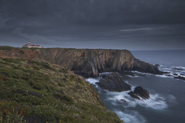 Cabo Sardao Lighthouse is a historic light on the cliffs along the coast of the Cabo Sardao in Portugal.