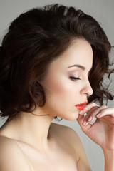 Portrait of young beautiful thoughtful woman