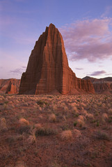 Temple of the Sun and Temple of the Moon, in the national park at Capitol Reef in Utah.