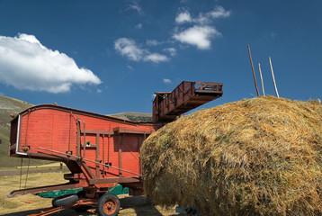 trebbiatura lenticchie a Castelluccio di Norcia