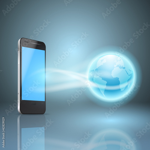 Phone and the globe, mobile internet concept