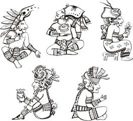 Maya characters sitting