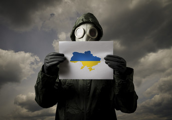 Gas mask and Ukraine map