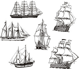 Sketches of sailing boats