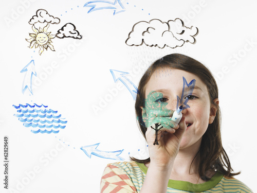 A young girl drawing the water evaporation cycle on a clear see through surface with a marker pen.