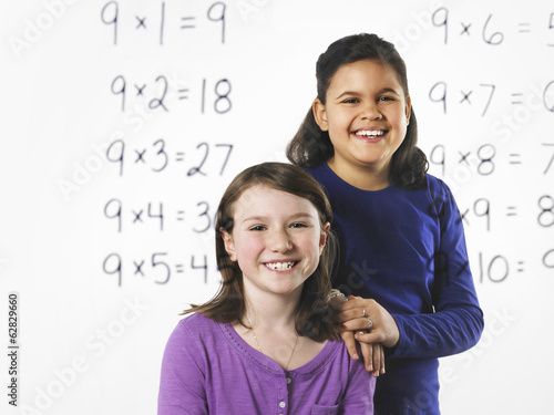 Two girls  looking at a series of mathematical multiplication tables on a see through clear wall with black pen. Learning.