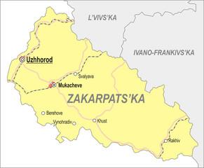 Map of Zakarpattia Oblast (Transcarpatia)