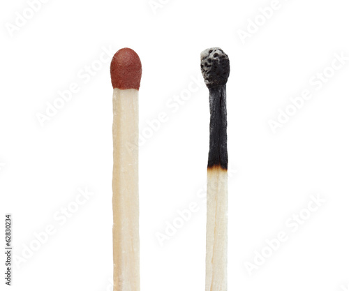 Two matches a burned and other unburned