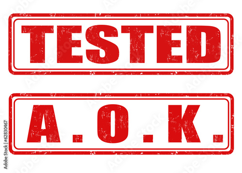 Tested and A. O. K.  stamps