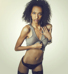 Beautiful African American lingerie model