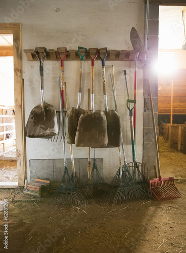 An organic farm. Livestock shed. Rack of shovels, hay rakes and a bootscraper.