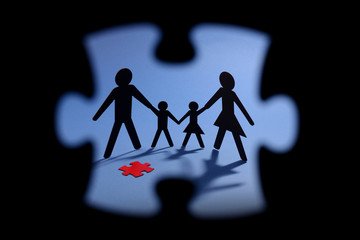 family and jigsaw puzzle cut