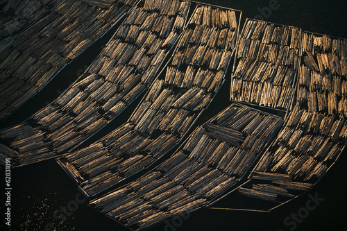 Logs awaiting export, Skagit County, Washington