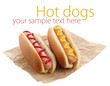 Tasty hot dogs isolated on white