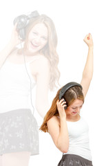Female having fun listening to headphones