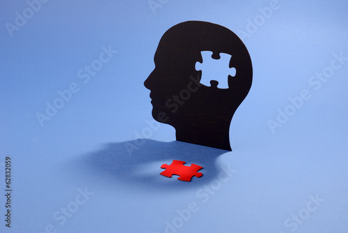 Jigsaw puzzle in the shape of a human head