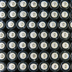 Rows of double A batteries, close up