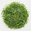 A pile of organic wheatgrass on a white background