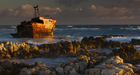 A rusting wreck, an abandoned ship off the shore of Arniston, on the shores of Cape South.