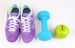 canvas print picture - Sneakers and sport equipment. Conceptual photo of fitness