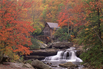 A historic grist mill building on the banks of Glade Creek in West Virginia.