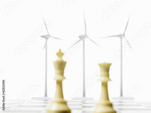 Environmental Chess Board with Wind Turbines