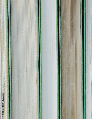 Books in a row, with green hard covers, and white and beige paper edges.