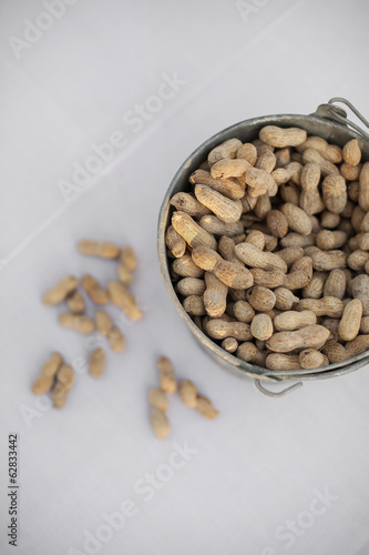 A metal container with a handle. Peanuts with their husks on. Organic nuts, Arachis hypogaea. Shells on.