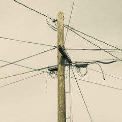 Telephone pole and power lines, Seattle
