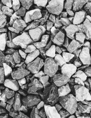 Rock pile used for construction, in King county, Washington, in the USA. Stones and rubble.