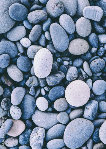 Polished smooth stones and pebbles on the sea shore, in Olympic national park.  Varied shapes and sizes.