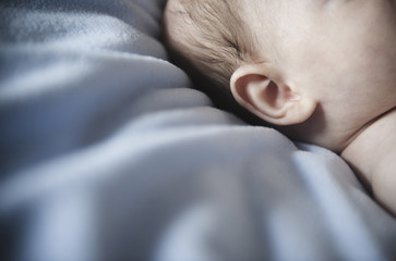 A baby's head and ear, against a blue bedsheet.