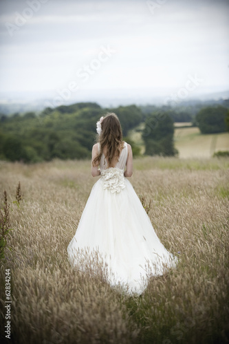 A bride in her wedding dress standing in a field.