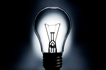 Electric light bulb with dark background