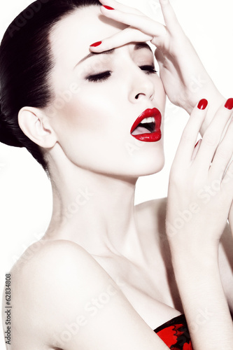 brunette with red lipstick