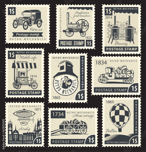 Set of stamps with a retro mechanics