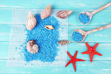 Sea salt crystals with sea shells, star fish