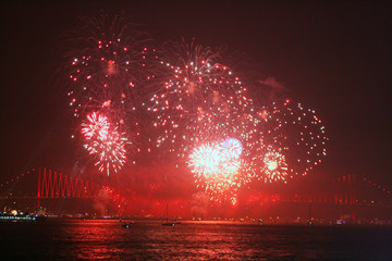 Fireworks over Bosphorus and Istanbul