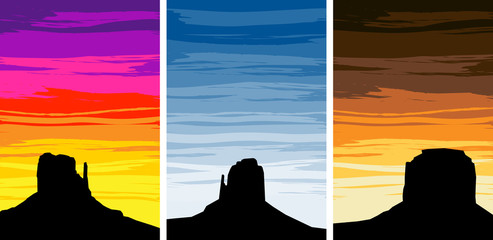 Monument Valley Silhouettes on Different Sunset Skies, EPS8 Vect