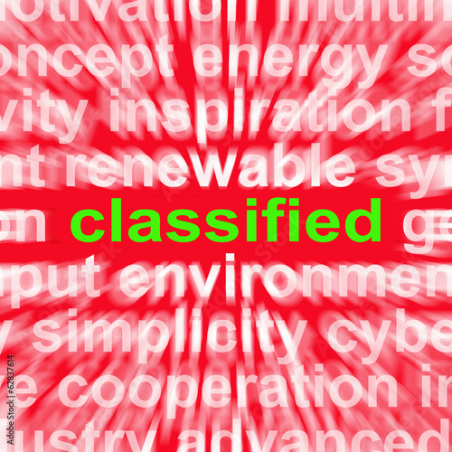 Classified Word Shows Top Secret Or Confidential Document