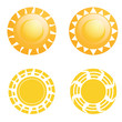 Vector Set Of Different Abstract Suns Isolated