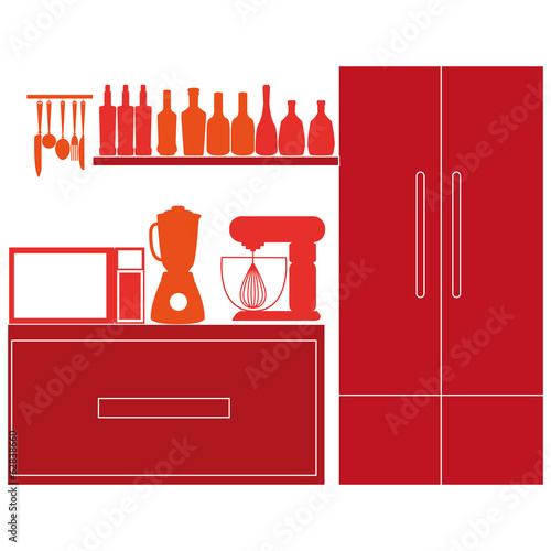 Stylish Colorful Kitchen Elements On Background