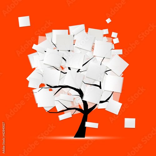 Art tree with papers for your text
