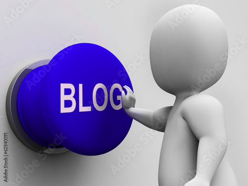Blog Button Shows Online Expression Information Or Marketing