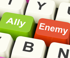 Ally Enemy Keys Mean Partnership And Opposition